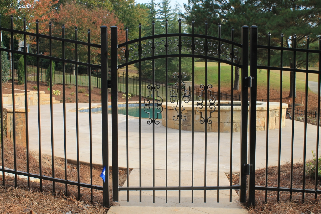 Arched ornamental walk gate w butterfly s and decorative